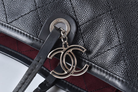 Chanel Black Quilted Caviar Leather Shopping Fever Tote Bag 19246145