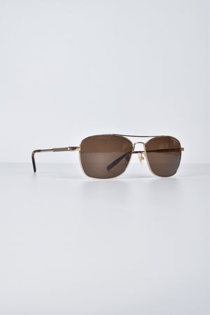 Mont Blanc Aviator Sunglasses MB0026S 003 in Gold / Brown