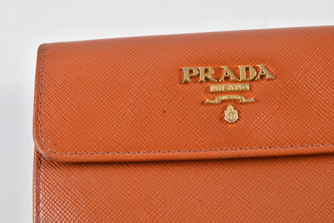 Prada 1M0523 Saffiano Leather French Wallet with Two Snap Closures Pumpkin