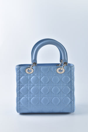 Christian Dior Lady Dior Medium in Baby Blue SHW