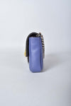 Fendi Micro Buggie Baguette Crossbody Bag in Purple Lambskin Leather and Fox Fur