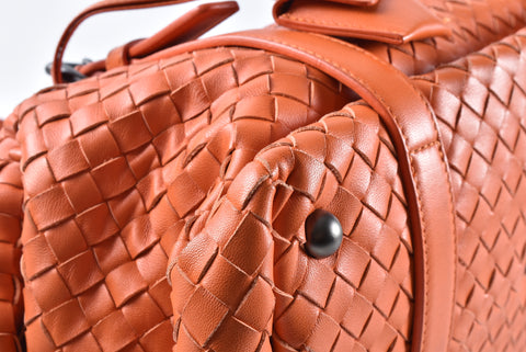Bottega Veneta Orange Intreciatto Nappa Double Adjustable Handle Shoulder Bag 272801 V0016 7561 EPEV 2011 3395 F - Glampot