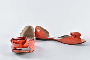 Roger Vivier Patent Orange Flower Flats