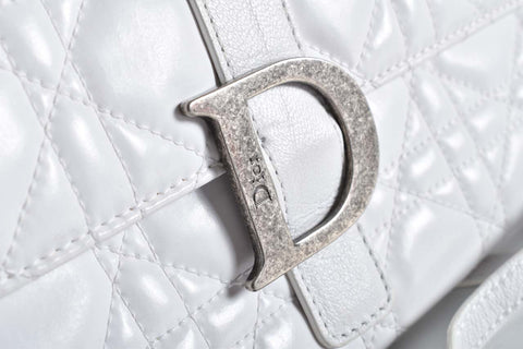 Christian Dior Vintage White Cannage Quilted Leather Wallet On Chain 02-LU-0047
