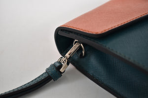 Prada Green/Orange Saffiano Leather Clutch