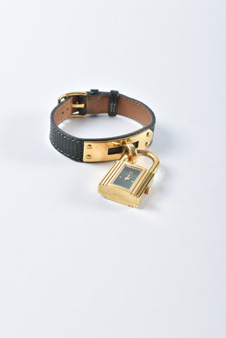 Hermes Kelly Lizard Band Green Gold Plated Lock Watch Stamp Z