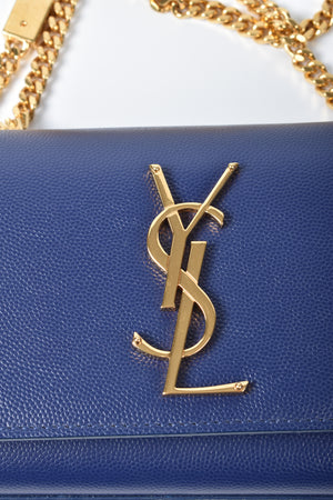 Yves Saint Laurent Blue Grained Calf Leather Small Monogram Crossbody Bag