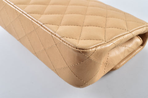 Chanel Beige Quilted Lambskin Single Flap 10569288 - Glampot