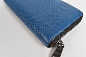 Coach Accordion Denim Perforated Leather Wallet