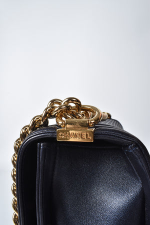 Chanel A92095 Large Boy Cube Flap Bag in Navy Blue GHW