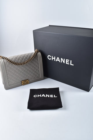Chanel Boy Large Grey Caviar GHW 19997732 - Glampot