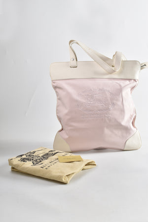 Burberry Pink Fabric White Leather Trim Shopper Tote