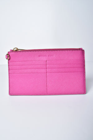 Michael Kors Jet Set Travel 3IN1 Wristlet Clutch Leather Crossbody Bag Fuschia