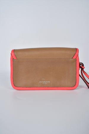 Coach Legacy Archival 2-tone Leather Penny Clutch in Light Sand/Watermelon