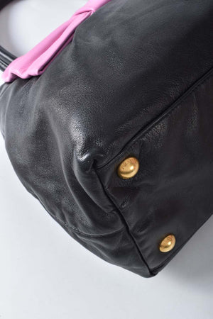 Prada Black/Pink Leather Fiocco Bow Satchel