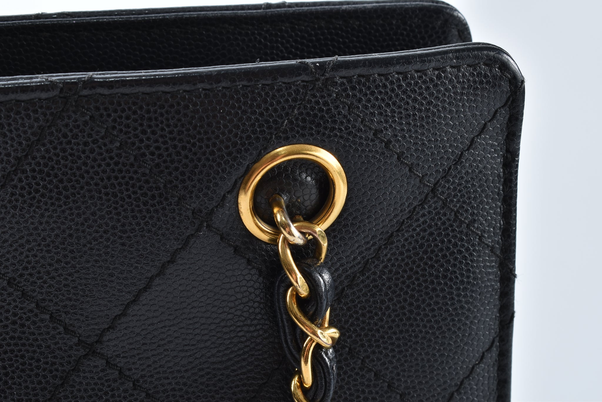 Chanel Vintage Black Caviar GHW Tote Bag - Glampot
