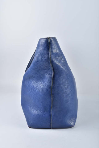 Tod's Blue Pebbled Leather AGJ Grande Shopping Tote Bag