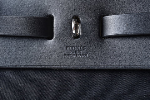 Hermes Large Black Canvas Herbag with Exchangeable Covers