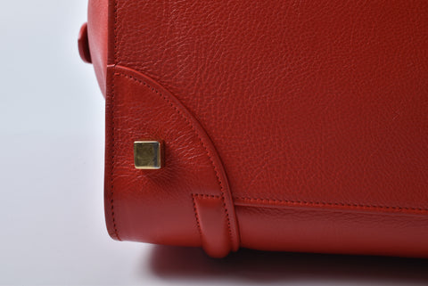 Celine Mini Luggage in Red Drum Leather W-AT-0163 W-MM - 0173 - Glampot