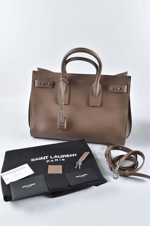Saint Laurent Dark Beige Supple Calfskin Leather Medium Sac de Jour Bag PMR464959.1216