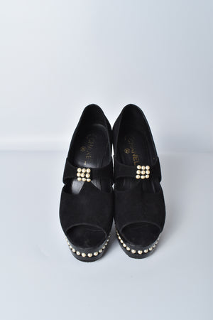 Chanel Black Suede Leather Moscow Collection Pearl Trim Platform Pumps
