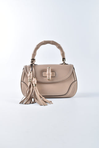 Gucci 296859 200047 Beige Smooth Leather New Bamboo Medium Top Handle Bag