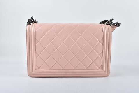 Chanel Boy Lambskin New Medium Light Pink RHW