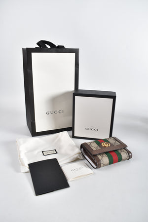 Gucci Beige Ophidia GG Card Case Wallet 523174 0416 (PIG SKIN)