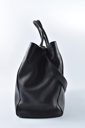 Fendi 2 Jours Medium Textured-Leather Tote in Black