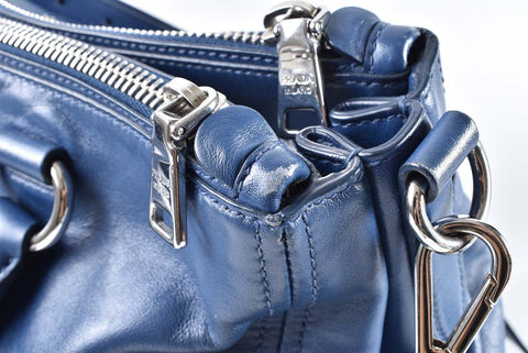 Prada BN2324 Bluette Soft Calfskin 2 Way Satchel