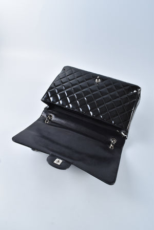 Chanel Black Patent Maxi Single Flap SHW 13533390 - Glampot