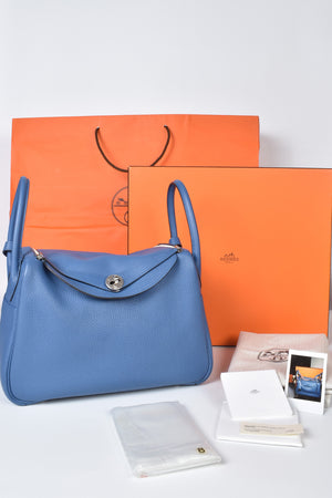Hermes Bi-color Lindy 30 Clemence in Blue Agate/ Gris Asphalt