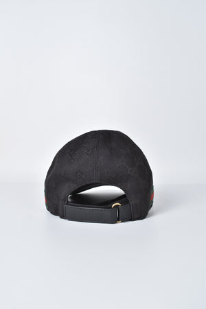 Gucci Black GG Canvas Baseball Hat with Web