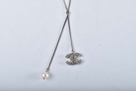 Chanel CC Rhinestone Pendant Chain Necklace With Pearl Accent