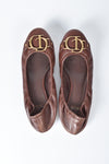 Christian Dior Brown Leather Logo Scrunch Ballet Flats