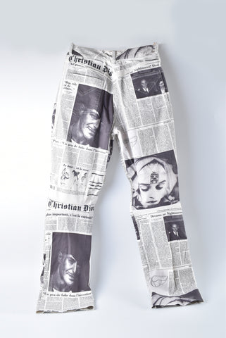 Christian Dior John Galliano Limited Edition Newspaper Print Jeans in Size US 6