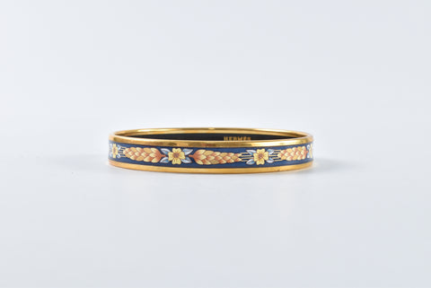 Hermes Blue Enamel Yellow Flower Printed GHW Bracelet Stamp B
