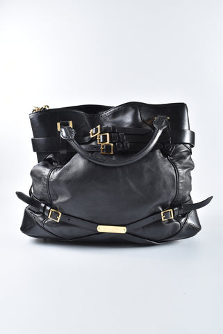 Burberry Black Soft Leather Landscape Bridle Large Lynher Tote Bag