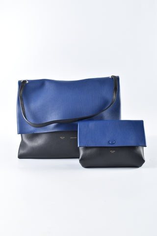Celine All Soft Shoulder Bag  in Black/Blue Leather and Beige Suede S-CU-0183