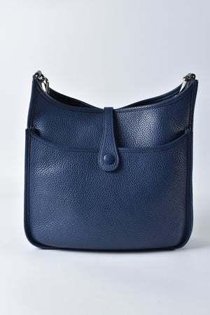 Hermes Bleu Saphir Clemence Leather Evelyne III PM Bag Stramp R square (2014)