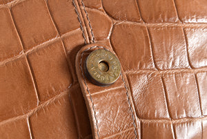 Furla Brown Embossed Leather / Suede GHW Shoulder Bag
