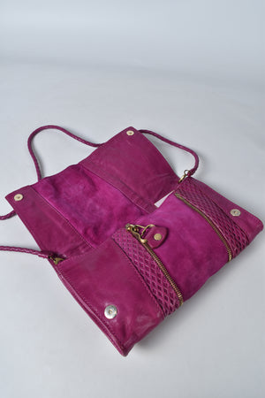 Jimmy Choo Purple Leather Evening Clutch