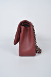 Chanel Burgundy Jumbo Lambskin Quilted Double Flap Bag SHW