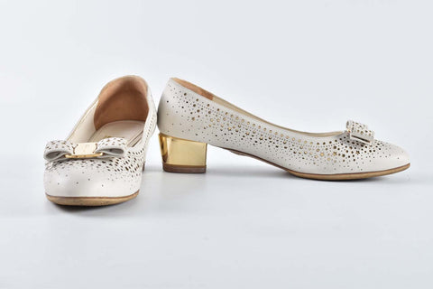 Salvatore Ferragamo Vara Low-heel White Pumps