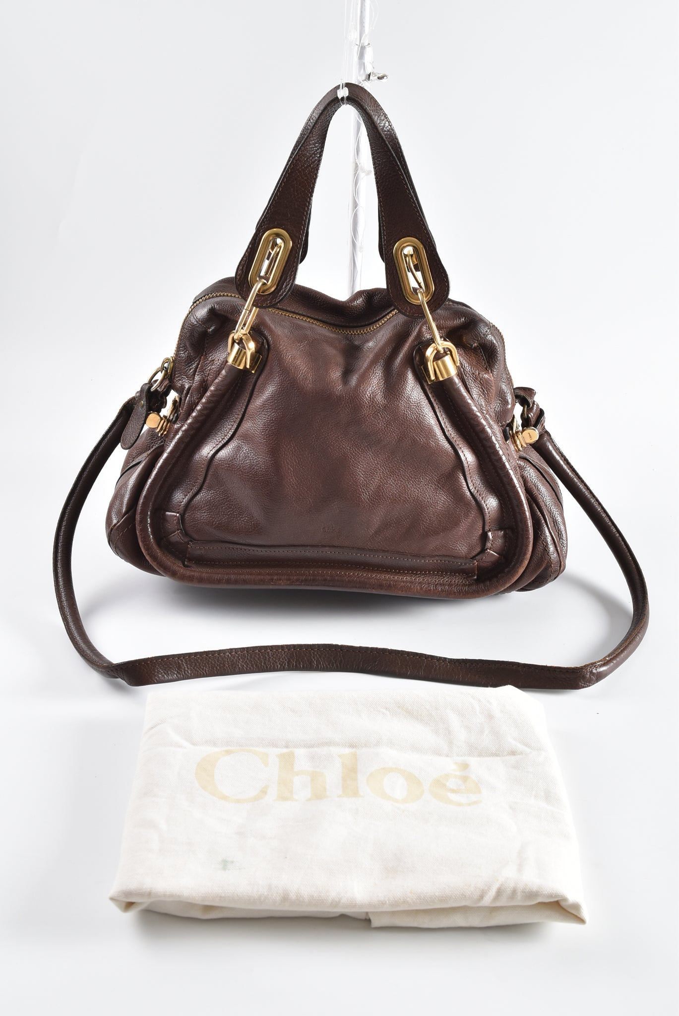 Chloé Paraty Brown Leather GHW Satchel Medium 041056 09 - Glampot