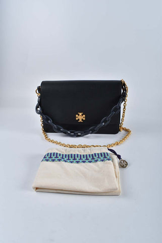 Tory Burch Kira Black Pebbled Leather Double Strap Shoulder Bag