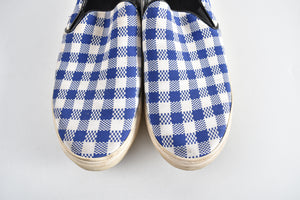 Celine Blue & White Plaid Slip On Shoe - Size 41