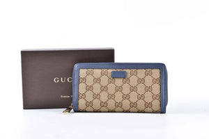 Gucci Piccola Pelletteria Zip Wallet Blue Line