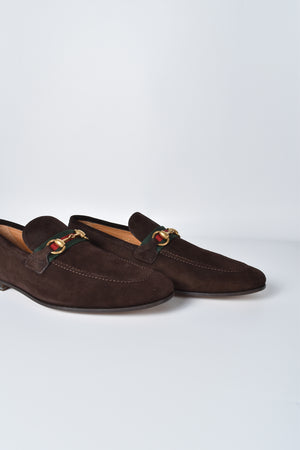 Gucci Men Brown Horsebit Suede Loafer with Web