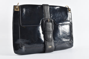 Anya Hindmarch Black Patent/Calfskin GHW Shoulder Bag - Glampot